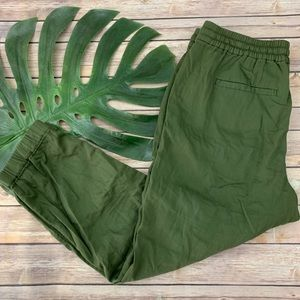 Point Sur Seaside green cotton twill pull on pants